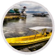 Yellow Tour Boat Round Beach Towel