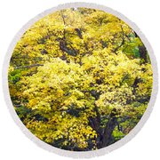 Yellow Tree Round Beach Towel