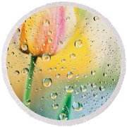 Yellow Tulip Reflecting In Water Drops Round Beach Towel
