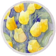 Yellow Tulips 1 Round Beach Towel