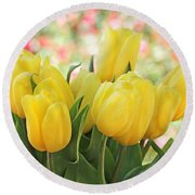 Yellow Tulips In The Spring Garden Round Beach Towel