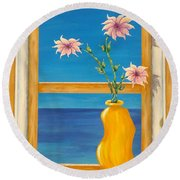 Yellow Vase With Sea View Round Beach Towel