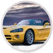 Yellow Viper Convertible Round Beach Towel