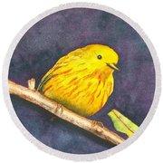 Yellow Warbler II Round Beach Towel