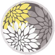 Yellow White Grey Peony Flowers Round Beach Towel