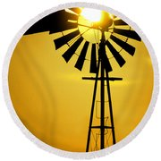 Yellow Wind Round Beach Towel