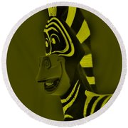 Yellow Zebra Round Beach Towel