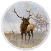 Yellowstone Bull Elk Round Beach Towel