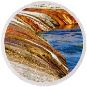Yellowstone Earthtones Round Beach Towel by Bill Gallagher