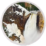 Yellowstone Falls From Lookout Point. Round Beach Towel