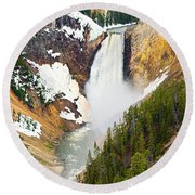 Yellowstone Falls In Spring Time Round Beach Towel
