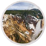 Yellowstone Falls Panorama Round Beach Towel