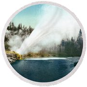 Yellowstone Geyser, C1905 Round Beach Towel
