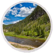 Yellowstone Gibbon River Round Beach Towel