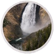 Yellowstone Lower Falls Round Beach Towel