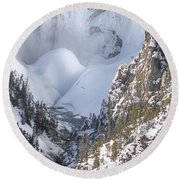 Yellowstone -  Lower Falls In Winter Round Beach Towel