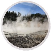Yellowstone National Park - Mud Pots Round Beach Towel
