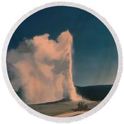 Yellowstone -- Old Faithful Vintage Round Beach Towel