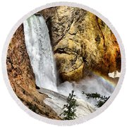 Yellowstone Lower Falls Rainbow Round Beach Towel