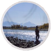 Yellowstone River Fly Fishing Round Beach Towel