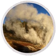 Yellowstone Riverside Eruption Round Beach Towel