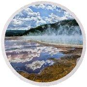 Yellowstone - Springs Round Beach Towel