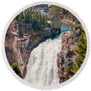 Yellowstone Upper Falls Round Beach Towel