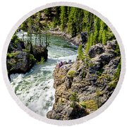 Yellowstone - Upper Falls Round Beach Towel