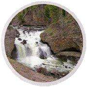 Yellowstone Waterfalls Round Beach Towel