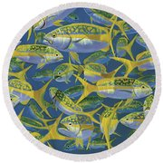 Yellowtail Frenzy In0023 Round Beach Towel