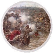 Yermaks Conquest Of Siberia Round Beach Towel