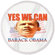 Yes We Can - Barack Obama Round Beach Towel