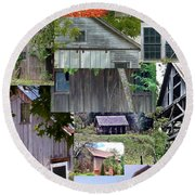 Yesterday Barns Collage Round Beach Towel