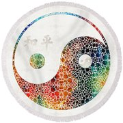 Yin And Yang - Colorful Peace - By Sharon Cummings Round Beach Towel