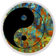 Yin Yang Abstract Round Beach Towel