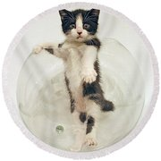 Yin Yang Kitten Round Beach Towel