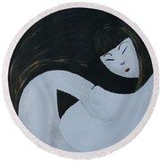 Yin Yang Maternity Round Beach Towel