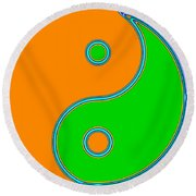 Yin Yang Orange Green Pop Art Round Beach Towel