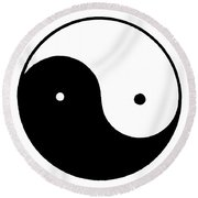 Yin Yang Symbol Round Beach Towel