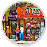 Yitzs Deli Toronto Restaurants Cafe Scenes Paintings Of Toronto Landmark City Scenes Carole Spandau  Round Beach Towel