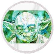 Yoda Watercolor Portrait Round Beach Towel