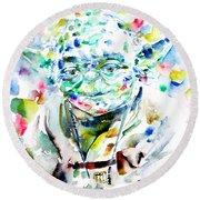 Yoda Watercolor Portrait.1 Round Beach Towel