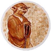 Yoda Wisdom Original Coffee Painting Round Beach Towel