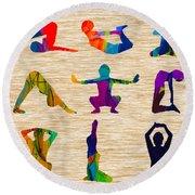 Yoga Poses Round Beach Towel