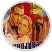 Yorkshire Terrier Art Canvas Print - Casablanca Movie Poster Round Beach Towel