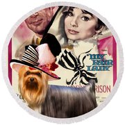 Yorkshire Terrier Art Canvas Print - My Fair Lady Movie Poster Round Beach Towel