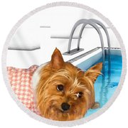 Yorkshire Terrier - This Is The Life Round Beach Towel