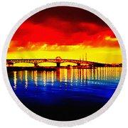 Yorktown Bridge Sunset Round Beach Towel