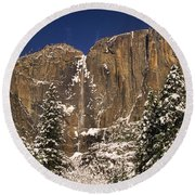 Yosemite Falls And Lost Arrow Yosemite National Park  Round Beach Towel