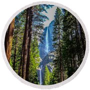 Yosemite Falls Round Beach Towel